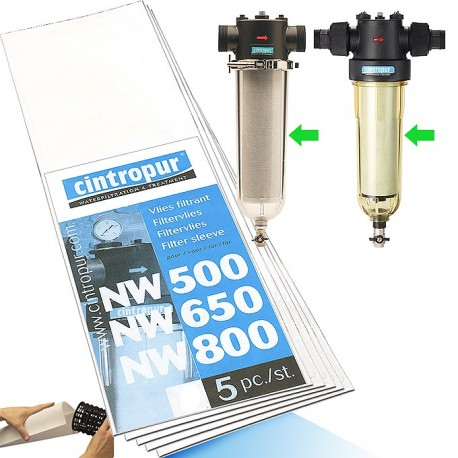 Manchettes filtrantes Cintropur nw500, nw650, nw800, nw50, nw62, nw75, de 1 a 100 microns
