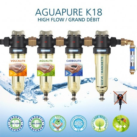 The water refiner Aguapure K18 is equipped with supplies for 1 year
