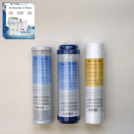 Maintenance kit 3 cartridges for Reverse Osmosis Basic 5s and 5p Basic with and without pump