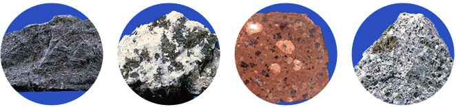 Different types of volcanic rock