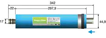 Dimensions de la membrane nanofiltration GREENFILTER 70 GPD